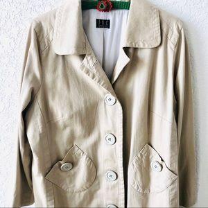 INC trench coat tan twill button down 1X EUC
